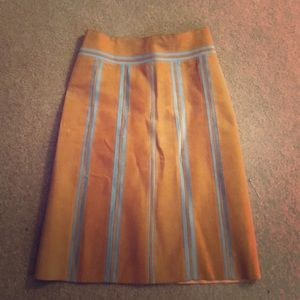 Peach and turquoise A line Suede Skirt